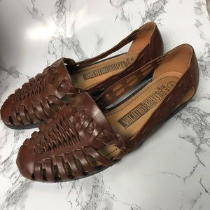 The Leather Collection Woven flats shoe brown 7.5W